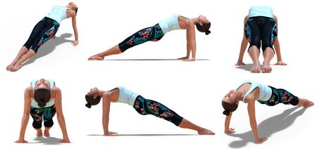 Virtual Woman in Yoga Upward Plank Pose with 6 angles of view on a white background