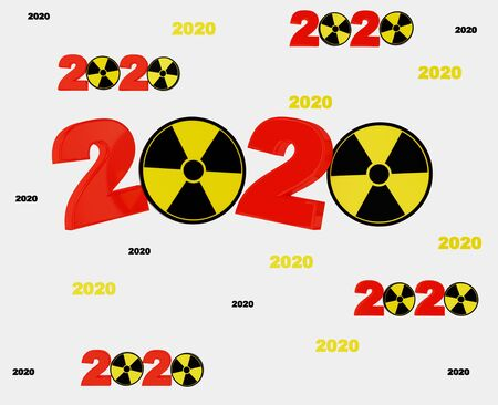 Many Radioactive Symbol 2020 Titles with lots of Balls on a White Background