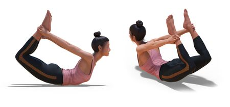 Back three-quarters and Right Profile Poses of a virtual Woman in Yoga Bow Pose with a white background