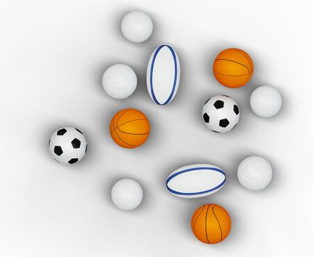 Top view of several team sport balls with a white background Banco de Imagens