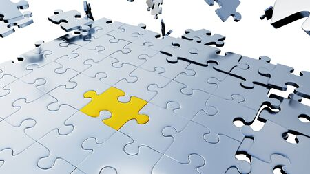 Many big Grey Puzzle pieces in Chaos with One Large Golden piece on a white background