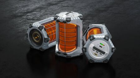 Front view of 3 SciFi Hexagonal Batteries with an orange translucent cylinder put on a dark floor