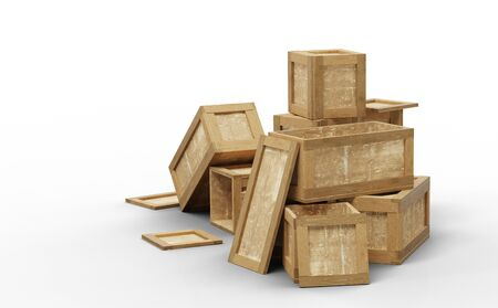 Several opened wood transport box with different size put in a mess on the floor with a white background