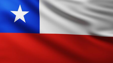 Large Chilean Flag fullscreen background in the wind with wave patterns