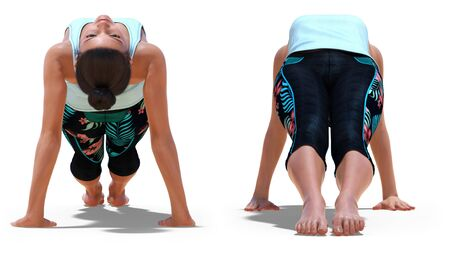 Front and Back Poses of a virtual Woman in Yoga Upward Plank Pose with a white background Banco de Imagens