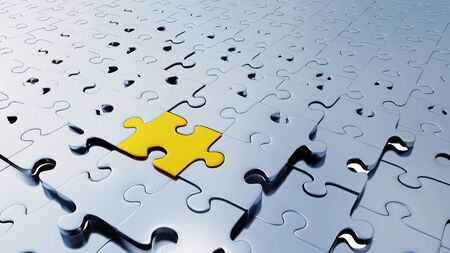 Many silver puzzle pieces almost in place with one large Golden piece between them with a white background Banco de Imagens
