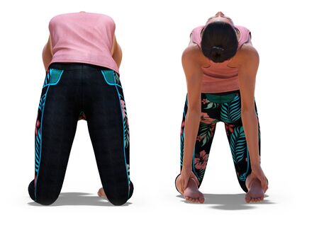 Front and Back Poses of a virtual Woman in Yoga Camel Pose with a white background