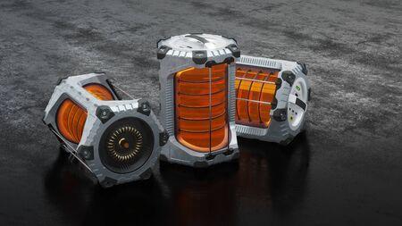 Three SciFi Hexagonal Batteries with an orange translucent tube put on a dark floor