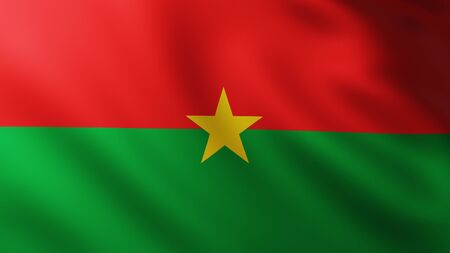 Large Flag of Burkina Faso fullscreen background in the wind with wave patterns
