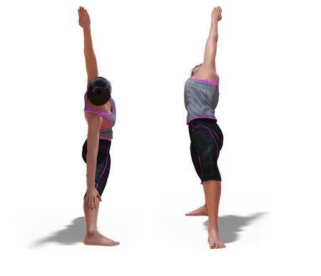 Front and Back Poses of a virtual Woman in Yoga Reverse Warrior Pose with a white background Banco de Imagens