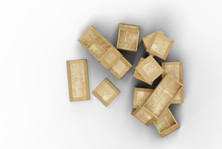 Top view of some opened transportation wood box with different size with a white background Banco de Imagens