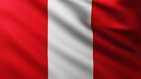 Large Flag of Peru background in the wind with wave patterns