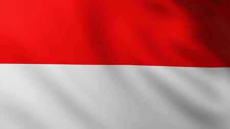 Large Indonesian Flag fullscreen background in the wind with wave patterns