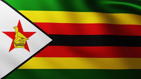 Large Flag of Zimbabwe fullscreen background in the wind with wave patterns