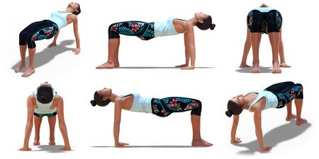 Virtual Woman in Yoga Table Pose with 6 angles of view on a white background Banco de Imagens