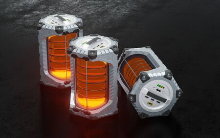 2 SciFi Hexagonal Batteries straight put on base and 1 on its side with glowing orange translucent cylinders on a dark floor