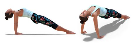 Back and Right Profile Poses of a virtual Woman in Yoga Upward Plank Pose with a white background