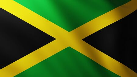 Large Flag of Jamaica background in the wind with wave patterns Banco de Imagens