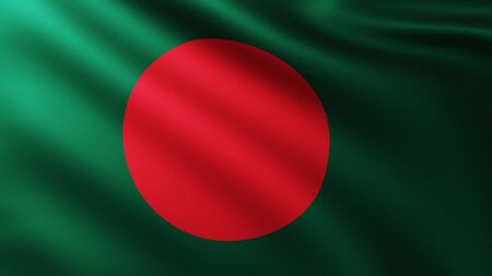 Large Flag of Bangladesh fullscreen background in the wind with wave patterns
