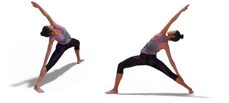 Front and Left Profile Poses of a Virtual Woman in Yoga Reverse Warrior Pose with a white background