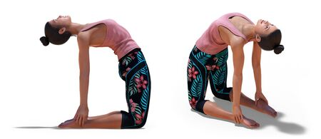 Back three-quarters and Right Profile Poses of a virtual Woman in Yoga Camel Pose with a white background