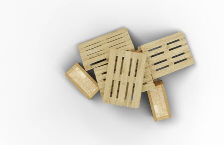 Top view of few wood pallets and transport box messy stacked with a white background Banco de Imagens