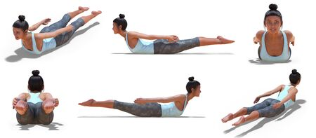Virtual Woman in Yoga Locust Pose with 6 angles of view on a white background