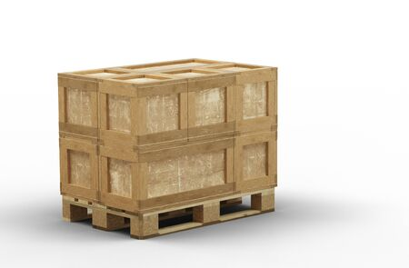 Wood pallet totally loaded with different size of transport box with a white background