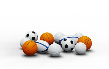 View of some team sport balls with a white background