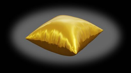 Golden cushion very inflated because of a big pressure with a dark background