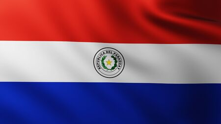 Large Flag of Paraguay fullscreen background in the wind with wave patterns