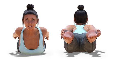 Front and Back Poses of a virtual Woman in Yoga Locust Pose with a white background