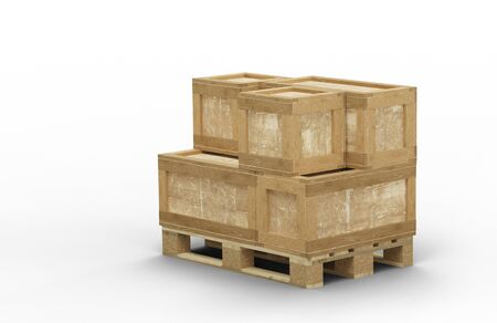 Wood pallet with different size of transport box stacked with a white background Banco de Imagens