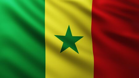 Large Flag of Senegal fullscreen background in the wind with wave patterns