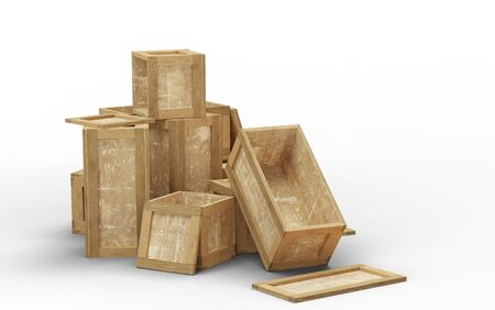 Few opened wood transport box with different size put in a jumble on the floor with a white background