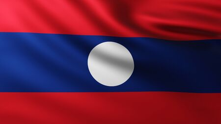 Large Flag of Laos fullscreen background in the wind with wave patterns