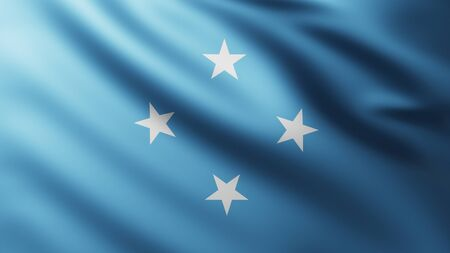 Large Federated States of Micronesia Flag background in the wind with wave patterns