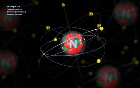 Atom of Nitrogen with detailed Core and its 7 Electrons with Atoms in background Standard-Bild