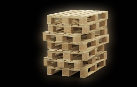 Seven wood pallet badly piled up with a black background