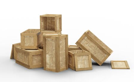 Several opened wood transport box with different size put in a jumble on the floor with a white background
