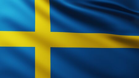 Large Flag of Sweden fullscreen background in the wind with wave patterns Stockfoto
