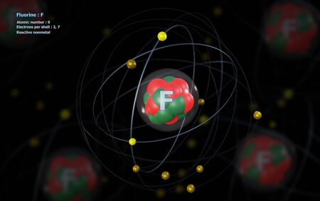 Atom of Fluorine with detailed Core and its 9 Electrons with other Atoms in background