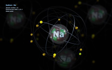 Atom of Sodium with detailed Core and its 11 Electrons with Atoms in background Standard-Bild