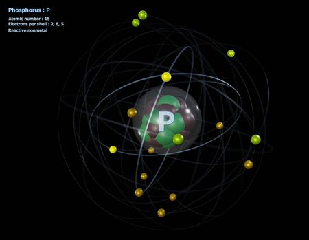 Atom of Phosphorus with detailed Core and its 15 Electrons with a black background Standard-Bild