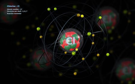 Atom of Chlorine with detailed Core and its 17 Electrons with Atoms in background