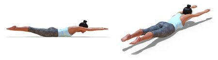 Back and Right Profile Poses of a virtual Woman in Yoga Inverted Locust Pose with a white background