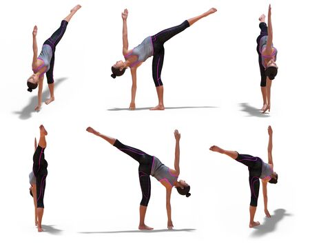 Virtual Woman in Yoga Half Moon Pose with 6 angles of view on a white background