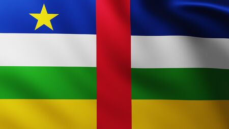 Large Flag of Central African Republic fullscreen background in the wind with wave patterns