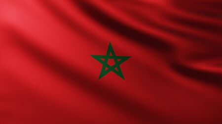 Large Flag of Morocco fullscreen background in the wind with wave patterns Reklamní fotografie