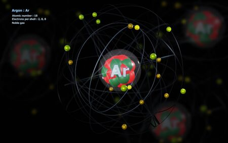 Atom of Argon with detailed Core and its 18 Electrons with Atoms in background
